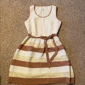 Esley cream and tan dress